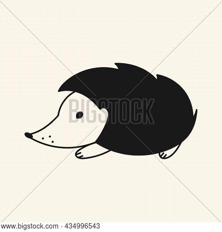 Hedgehog Icon. Vector. Black Stroke Flat Design. White Background