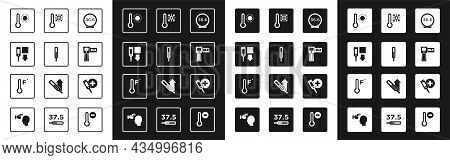 Set Medical Thermometer, Digital, Meteorology, Thermometer With Snowflake, And Icon. Vector
