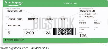 Vector Template Of A Green Airline Boarding Pass Ticket. Concept Of Travel, Journey Or Business. Iso