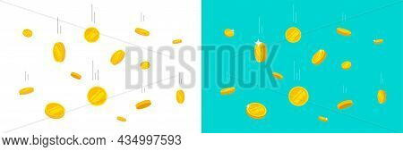 Coins Falling Or Gold Money Flying Rain Vector Flat Cartoon Illustration, Metal Cash Dropping Down A