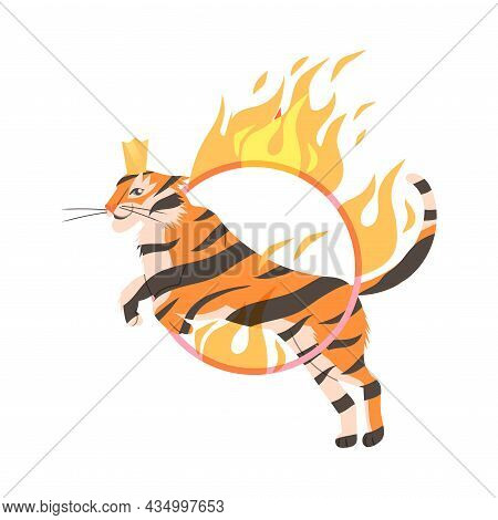 Circus Tiger Jumping Through Flaming Hoop Cartoon Vector Illustration On White Background
