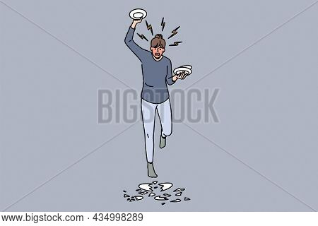 Feeling Angry And Furious Concept. Young Angry Rage Furious Woman Cartoon Character Standing Breakin