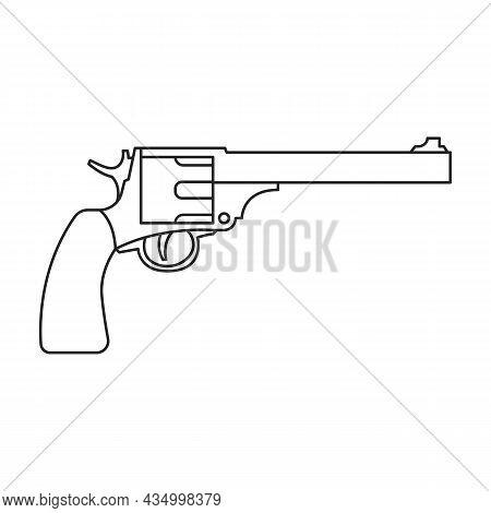 Revolver Of Gun Vector Icon.outline Vector Icon Isolated On White Background Revolver Of Gun.