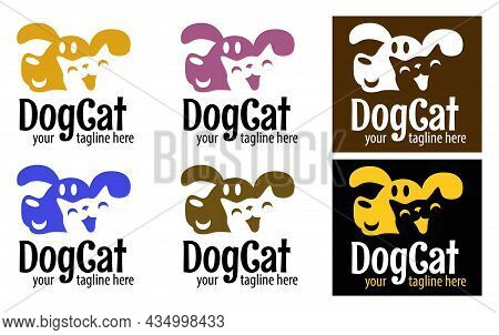 Funny Logo From The Combined Muzzles Of A Cat And A Dog. Pet Store Icon. Veterinarian Clinic Sign. P