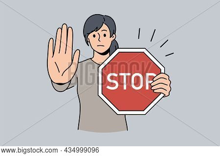 Stop Sign And Rejection Concept. Young Serious Woman Cartoon Character Standing With Red Sign Stop I