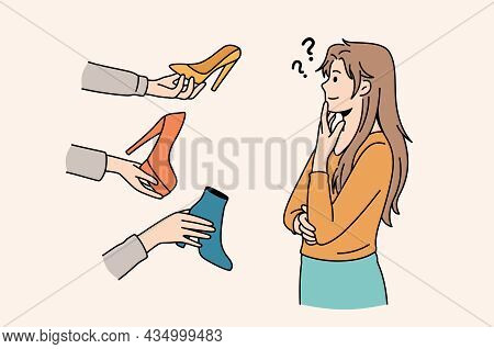 Difficult Choice And Variety Concept. Young Frustrated Woman Cartoon Character Standing Trying To Ch