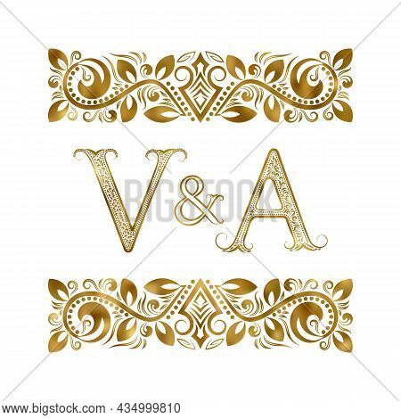 V And A Vintage Initials Logo Symbol. The Letters Are Surrounded By Ornamental Elements. Wedding Or