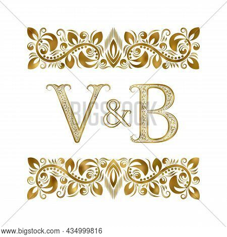 V And B Vintage Initials Logo Symbol. The Letters Are Surrounded By Ornamental Elements. Wedding Or