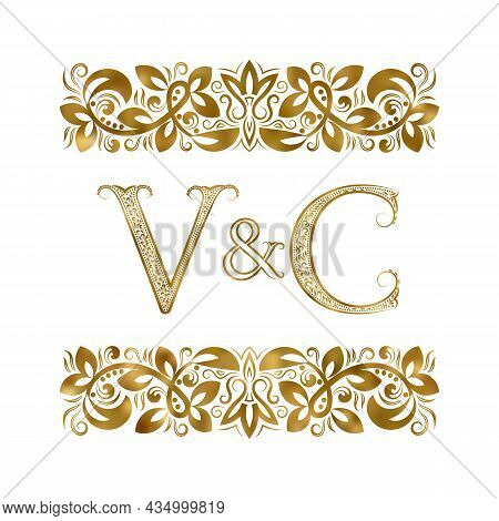 V And C Vintage Initials Logo Symbol. The Letters Are Surrounded By Ornamental Elements. Wedding Or