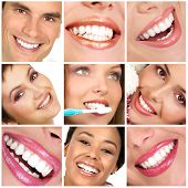 Smiling young people with healthy white teeth poster