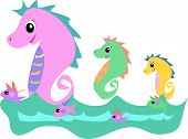 This group of colorful Seahorses loves to swim with the fish. poster