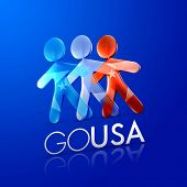 3d illustrated men representing the american flag with the frase go usa on a modern font over an intense blue background. poster