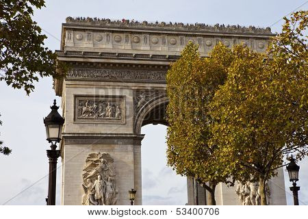 A view of the Arc de Triomphe from the Champs E'lysees in Paris. poster