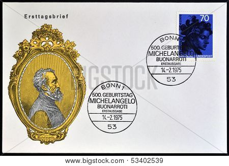 stamp shows woman Head by Michelangelo Buonarroti Italian sculptor painter and architect