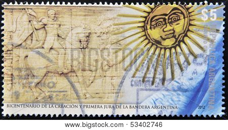 A stamp dedicated to bicentenary of the creation and first pledge of allegiance Argentina