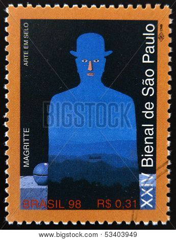 A stamp printed in Brazil dedicated to Sao Paulo Biennial shows a work by Rene Magritte