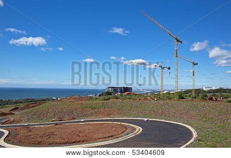 Three Tower Cranes Against Skyline In Umhlanga Durban South Africa