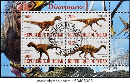 CHAD - CIRCA 2010: Stamps printed in Chad shows dinosaurs circa 2010