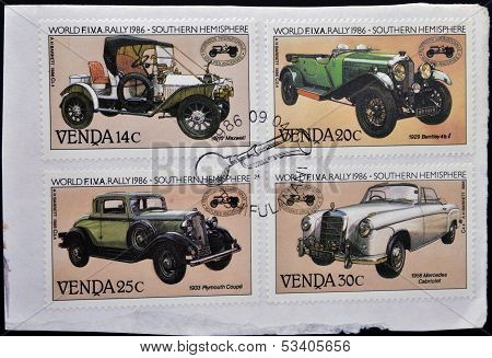 VENDA (SOUTH AFRICA) - CIRCA 1986: Stamps printed in South Africa shows Historic cars circa 1986