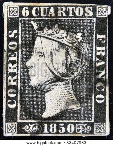 SPAIN - CIRCA 1850: first stamp printed in Spain shows Queen Elizabeth II circa 1850