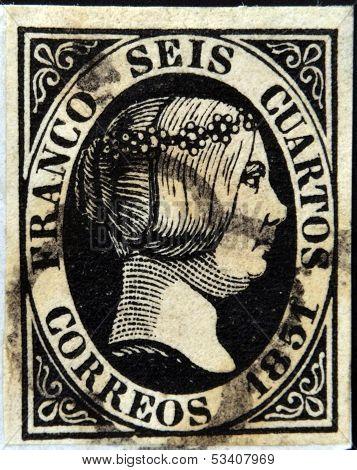 SPAIN - CIRCA 1851: A stamp printed in Spain shows Queen Elizabeth II circa 1851