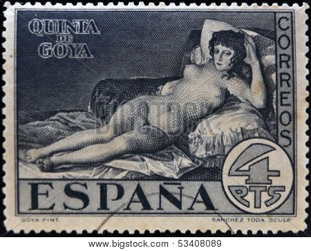 SPAIN - CIRCA 1930: A stamp printed in Spain shows The Nude Maja by Francisco de Goya