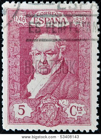 SPAIN - CIRCA 1930: A stamp printed in Spain shows Francisco de Goya y Lucientes circa 1930