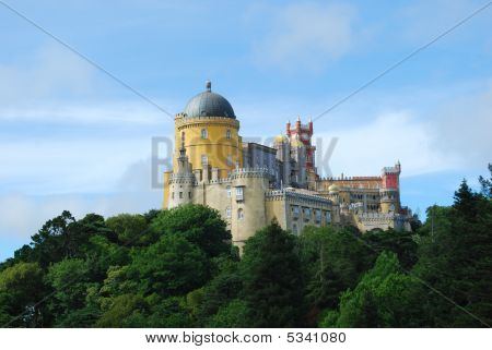 Colorful Palace Of Pena Landscape View In Sintra, Portugal.