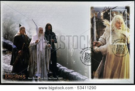 stamp printed in New Zealand dedicated to The Lord of the Rings shows Gandalf the white