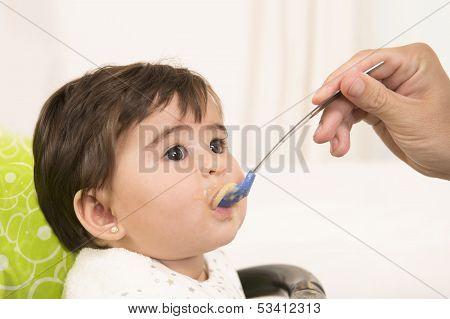 Feeding Cute Lovely Baby Girl