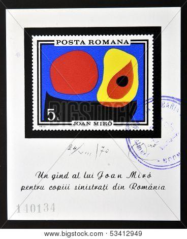 ROMANIA - CIRCA 1970: stamp printed in Romania show Abstract by Joan Miro circa 1970.