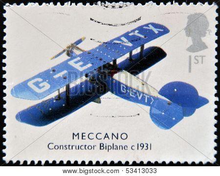 UNITED KINGDOM - CIRCA 2003: A stamp printed in Great Britain shows Meccano constructor biplane