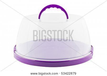 Tart or cake plate cover box isolated on white