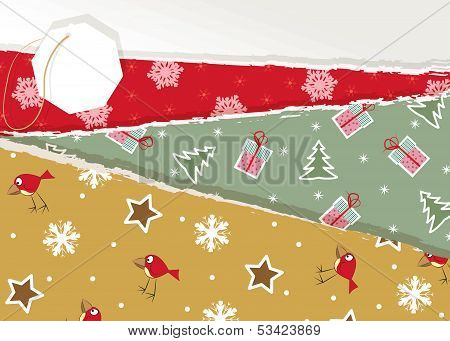 Vintage Christmas torn paper