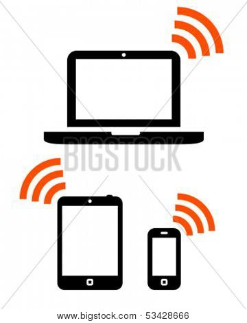 Laptop, tablet computer and mobile phone icons with wireless signals