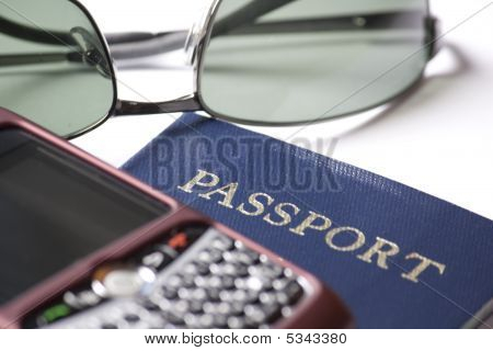 Sunglasses Passport And Cell Phone