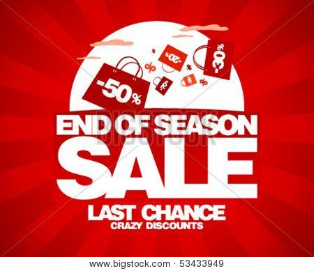 End of season sale design template with shopping bags.