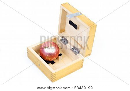 Christmas Ball In Wooden Box