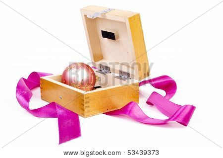 Christmas Ball In Wooden Box As Gift