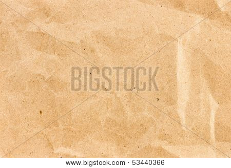 Crumpled  Recycled Paper  Background Texture. Vintage Craft Paper Texture Yellow   Color. Paper For
