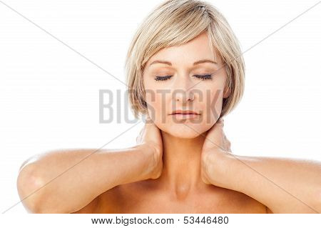 Calm And Beautiful Spa Lady With Closed Eyes
