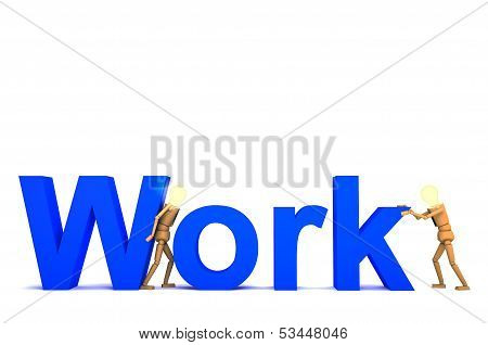 The Wooden Doll With Work Word 3D Illustration