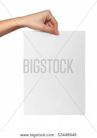 Female Hand Hold White Paper