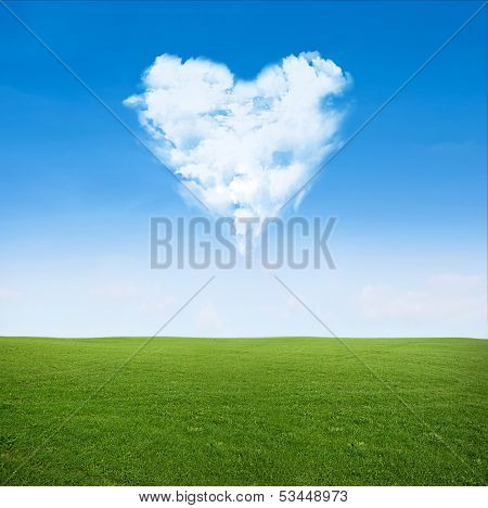 Field Clouds In Shape Of Heart