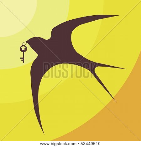the swallow against the sky bears a key from the house. logo of construction company poster