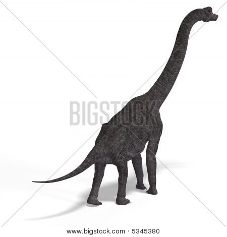 giant dinosaur brachiosaurus With Clipping Path over white poster
