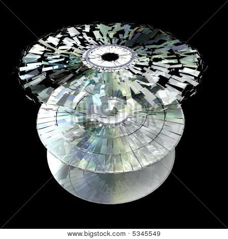 Data information loss and corruption illustration shattered cd poster