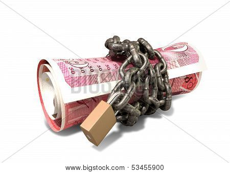 Rolled Up And Shackled British Pounds Lying