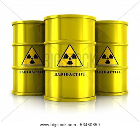 Yellow barrels with radioactive waste