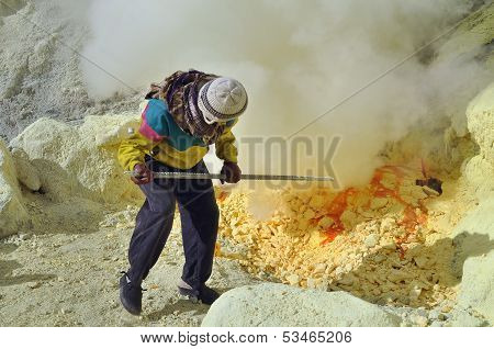 Worker At Sulphur Mine. Kawah Ijen Crater